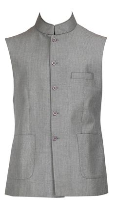 Raghavendra Rathore Designer presents grey coloured sleeveless band collar waistcoat with patch pockets and contrast maroon silk lining available only at Pernias Pop Up Shop. Prince Suit, Modi Jacket, Ethinic Wear, Men's Waistcoat, Nehru Jackets, Mens Attire, Next Clothes, Groom Wear, Latest Mens Fashion