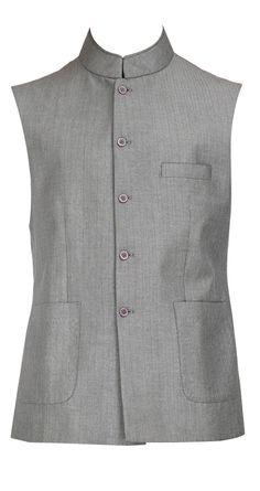 Grey bandhgala waistcoat by RAGHAVENDRA RATHORE. Shop at https://www.perniaspopupshop.com/mens-shop/raghavendra-rathore-3994