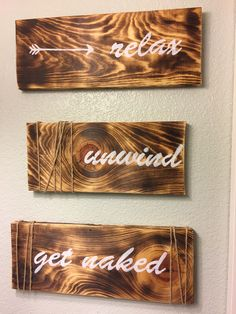 Three piece bathroom sign that comes with wall mounts or would work well on a shelve. The wood is reclaimed and imperfections in the wood such as cracks, nail holes, and rusty nails can be expected. T