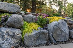spokane boulder retaining wall with rock garden landscaping - Modern Design Pacific Garden, Boulder Garden, Lake Landscaping, Backyard Landscaping, Landscaping With Boulders, Stone Landscaping, Rock Garden Landscaping, Modern Garden Design, Rock Wall Landscape