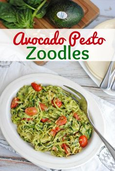 Avocado Pesto Zoodles Recipe- This Mama Loves. Try these creamy avocado pesto zoodles at your next gathering (or just for dinner) -- they'll never guess it's chock full of good-for-you ingredients! Soup Recipes, Keto Recipes, Chicken Recipes, Dinner Recipes, Healthy Recipes, Vegan Zoodle Recipes, Bread Recipes, Breakfast Recipes, Spiralizer Recipes Vegetarian