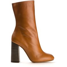 Chloé Tan Leather Ankle Boots ($430) ❤ liked on Polyvore featuring shoes, boots, ankle booties, heels, footwear, scarpe, block heel booties, block heel bootie, high heel boots and heeled booties