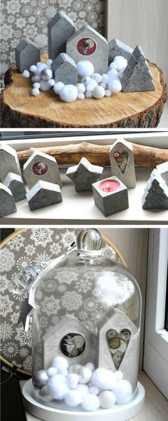 These concrete little houses are so adorable. I especially love the litthe heart detail #concrete #cement #house #decorativeobjects #homedecor #commissionlink