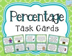 Percent Task Cards. Use these 32 task cards to help teach, reinforce, and enrich your students in their percent skills! This set includes a wide variety of different real-world word problems that require your students to think critically about finding percentages, finding sale prices, finding a percent difference in prices, calculating simple tips and tax, and more.$ Maths Resources, Math Worksheets, Math Activities, Math Tips, Math Lessons, Help Teaching, Teaching Math, Sixth Grade Math