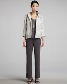 Eileen Fisher Luminous Jacket with stand-up collar