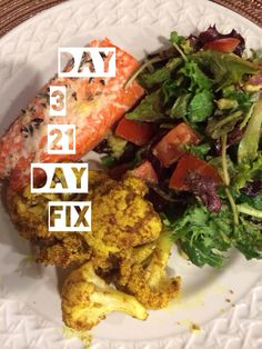 """21 day fix approved dinner! Baked salmon, roasted curry quinoa and a green salad with a """"blue container"""" of avocado."""