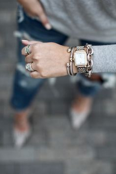The perfect David Yurman bracelet stack via For All Things Lovely