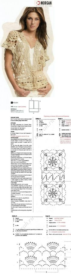 Receitas de Trico e Croche. Free diagram and some English written instructions. Scroll down the site page to find this one.