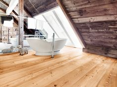 Overview of all references from mafi natural wood floors. See for yourself the benefits of using mafi natural wood floors in private as well as business areas! Wood Plank Flooring, Natural Wood Flooring, Wood Planks, Sloped Ceiling Bathroom, Wood Floor Bathroom, Slanted Walls, Doors And Floors, Wooden Posts, Wide Plank