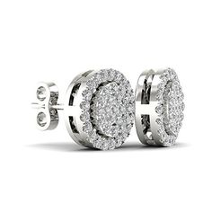 Dividiamonds Stud Earrings With Screw Back 14K White Gold Finish Round Cut White Cubic Zirconia