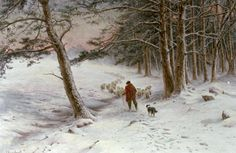 Winter scene with sheep: To Winter Quarters - Joseph Farquharson (Scottish Painter, 1846-1935)