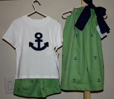 Brother sister set anchor embroidered fabric by juniperlily, $50.00