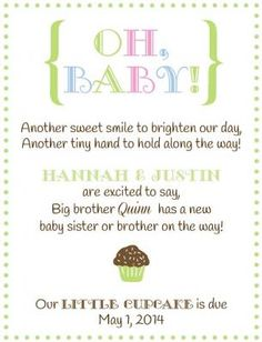 Cupcake Sweetie Sibling Pregnancy Announcement for second baby