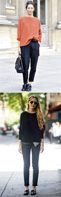 fall uniform: slouchy sweater, short boots, black cropped pants.