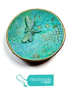 Turquoise Mint Dragonfly Ring Dish- Handmade Jewelry Holder-Trinket Dish- Polymer Clay Dish- Home Decor- Gifts for Home- Candle Holder from SK  Artisan Jewelry & Gifts https://www.amazon.com/dp/B01MFEYPSC/ref=hnd_sw_r_pi_dp_bPYkybZT7AYNH #handmadeatamazon