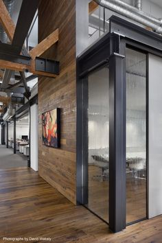 Charcoal steel and timber wall panels