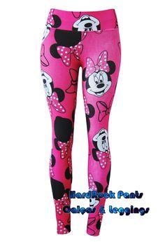 Calça Legging Minnie Mouse #calça #legging #estampada #desenho #personagens #Disney #Minnie #Mouse #CinturaAlta #juvenil #rosa #pink #HardRockPants