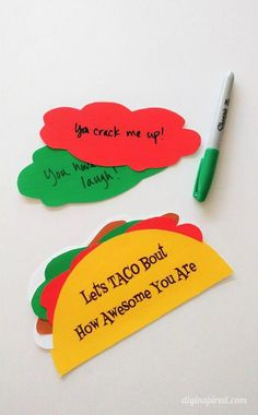 Let's Taco 'Bout How Awesome You Are - FREE Printable greeting card for any occasion. Write a message on each topping shoes girlfriend Let's Taco 'Bout How Awesome You Are - DIY Inspired Taco Puns, Cumpleaños Diy, Karten Diy, Fathers Day Crafts, Kids Fathers Day Cards, Valentines Day Cards Diy, Homemade Fathers Day Gifts, Diy Father's Day Gifts, Mothers Day Ideas