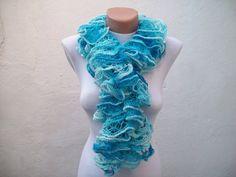 Blue Knit Scarf Winter Accessories Fall Fashion Frilly by nurlu, $25.00