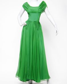 I need somewhere to wear this!  BWE A Vintage 1940's Kelly Green Silk Chiffon Full Sweep Gown Dress