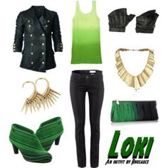A wearable feminine #Loki #outfit I created, inspired by the #MarvelComics character. #geek #fashion