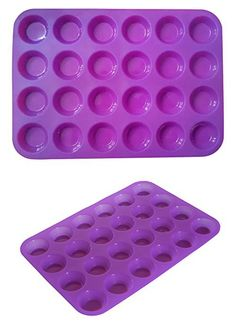 Mini Muffin Pan, 24 Cup Baking Mold Shapes, Non-stick Premium Food Grade Silicone for Small Cupcakes Muffins and Quiches and Many Other Uses, Bakeware by Happy Cook