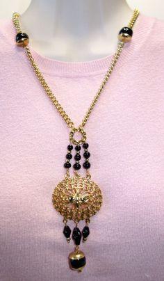 Stunning Vintage Black Glass & Medallion Lavalier Necklace
