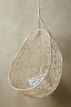 Anthropologie Knotted Melati Hanging Chair - ShopStyle Home(Diy Deco Boheme) Hanging Furniture, Kids Bedroom Furniture, Home Furniture, Hanging Chairs, Street Furniture, Furniture Chairs, Macrame Hanging Chair, Rustic Furniture, Bedroom Ideas