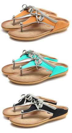 US$21.99 SOCOFY Large Size Butterfly Knot Clip Toe Flat Casual Beach Slippers