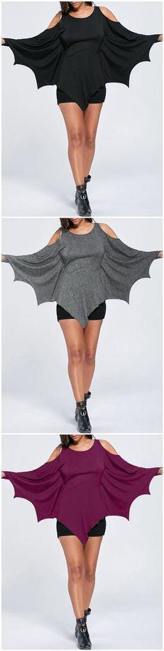 Halloween Cold Shoulder Batwing Tee