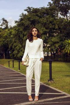 Get this look: http://lb.nu/look/6608014  More looks by Aileen Belmonte: http://lb.nu/aileenb  Items in this look:  Blackfive Textured Sweater, Bayo Trousers, Zara Strappy Heels   #casual #minimal