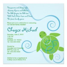 turtle baby shower ideas | a to zebra celebrations | boy baby, Baby shower invitations