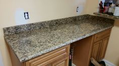 Giallo Fiorito granite kitchen countertop install for the Kirk family. Knoxville's Stone Interiors. Showroom located at 3900 Middlebrook Pike, Knoxville, TN. www.knoxstoneinteriors.com. FREE Estimates available, call 865-971-5800.