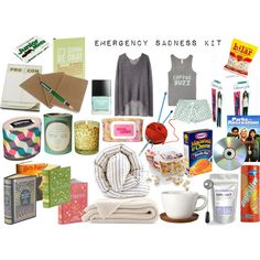 """""""Emergency Sadness Kit"""" by lastbloom on Polyvore. Great for yourself, loved ones or friends in need."""