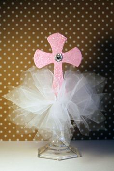 Cross centerpieces christening table decorations baptism for Idee deco kart cross