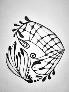 Zentangle hearts black on white
