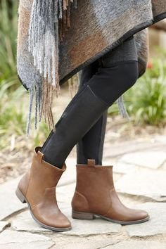 FLAT LEATHER BOOTIE in VINTAGE COGNAC - Comfy,and Perfect for Matching with Creative Combinations of Boot Cuffs and Leggings for Fall.