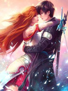 Yuuki Asuna and Kirito (Kirigaya Kazuto) - Sword Art Online Manga Anime, Comic Manga, Manga Art, Anime Kiss, Schwertkunst Online, Arte Online, Fantasy Love, Fantasy Art, Fantasy Warrior