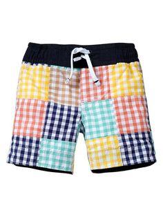 Gap | Gingham patchwork swim trunks