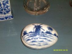 Blue and White Delft Pattern Porcelain Egg Shaped Trinket Box by WaterBearingDragon on Etsy