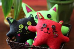MINI Plush Cat Love Dolls: vibrant colors by PuppyPawzBoutique