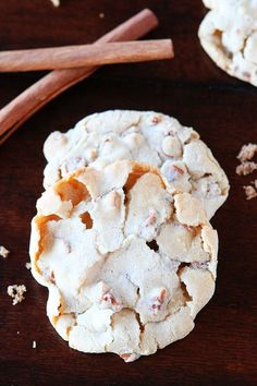 Cinnamon Eggnog Christmas Cookies! They're satisfyingly crackly on the outside, but super gooey and chewy on the inside. Santa will love these!