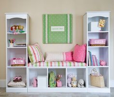 You can duplicate this with 3 Billy bookcases from Ikea - window seat. This might be what I need in Emma's room.