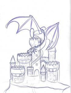 how to draw a dragon and castle step 5 - Have you thought of using a pattern like this to quill a fantasy castle and dragon?