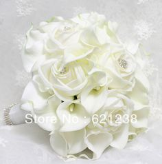 Find More Wedding Bouquets Information about EMS Free Shipping,Bride holding white calla flower, calla lily wedding bouquets and roses combined Diamond Jewelry embellishment,High Quality jewelry packaging and display,China jewelry flower Suppliers, Cheap embellished bikinis from Brooch bouquets custom store on Aliexpress.com