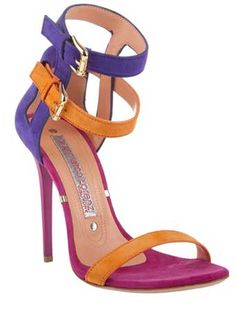 multicoloured-strappy-sandals  Wow, a pair of shoes by Gianmarco Lorenzi that DON'T come equipped with a platform so large the very sight of it gives you vertigo!