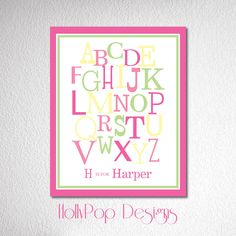 Baby Girls Room Nursery Art Print Personalized by HollyPopDesigns
