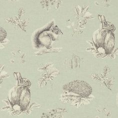Squirrel & Hedgehog Linen Fabric A sweet fabric featuring a squirrel, rabbit and hedgehog set amongst sprays of natural British flora, acorns, catkins and blackberries. Pencil drawn in fine detail and printed in charcoal on an eau de nil ground.