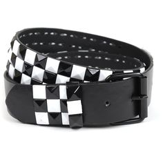 CHAOS BROTHERS Black and White Checked Studded Ska Belt