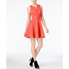 Bar Iii Zip-Front Fit & Flare Scuba Dress, (61 AUD) ❤ liked on Polyvore featuring dresses, hibiscus bloom, white fit and flare dress, fit and flare dress, fit flare dress, white day dress and zipper front dresses